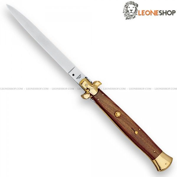 "Italian Stiletto Switchblade Knife FOX Italy (Knives for Sale Online Forbidden) only exhibition with blade of 420 stainless steel of high quality mirror polished - HRC 54/56 - Overall lenght 17.7"" - Brass bolsters - Rosewood handle a precious wood hard, durable, reasonably high porosity and brown with blackish streaks ​​- Equipped with safety lock in the handle - A FOX Italian Stiletto Switchblade Knife really exceptional with quality materials and an excellent Italian design, superior…"