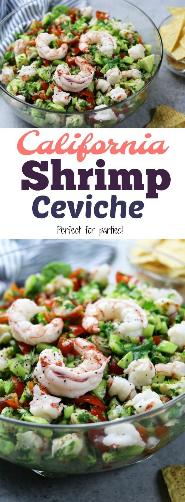 Light and refreshing, California Shrimp Ceviche recipe makes a perfect appetizer or meal replacement. A wonderful companion to healthy chips or stuffed in a lettuce leaf. https://www.thefedupfoodie.com