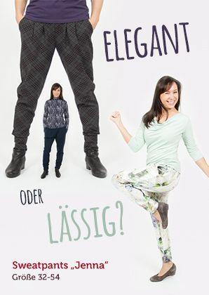 """Schnittmuster Sweatpants """"Jenna"""" für Frauen (Gr.32 bis 54) mit Taschen, Bundfalten und Gummibund --- Ganz einfach selbernähen Nähvideo!"""