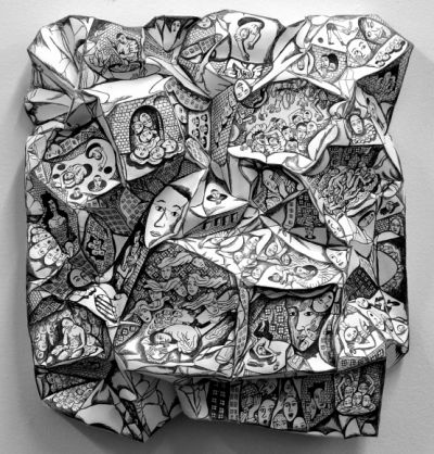 3D low-relief drawing - crumple paper and fill in the facets - could do this but get students to do colour fields Image: Do Eun Hyung Kim's 3D pencil drawings on crumpled paper