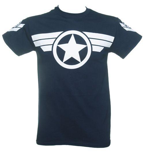 Men's Navy Steve Rogers Super Soldier Captain America Uniform Marvel T-Shirt