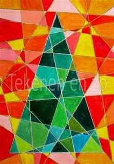 Tekenen en zo: middenbouw: Kubistische kerstboom