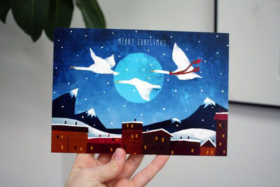 FLYING GEESE Christmas Card  A5 Illustrated by AnniesPrintings