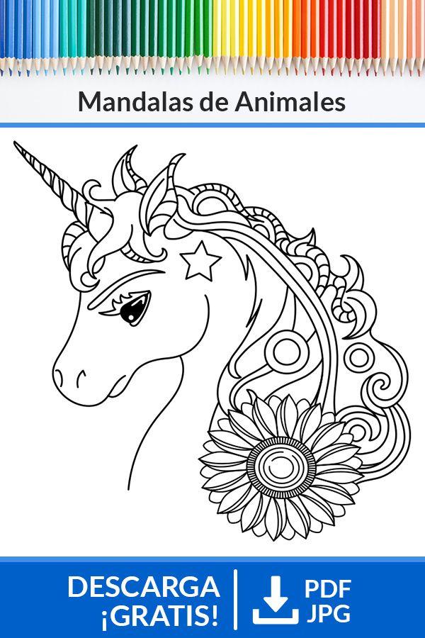 Mandala De Unicornio Mandalas Animales Mandalas Para Colorear Animales Mandalas