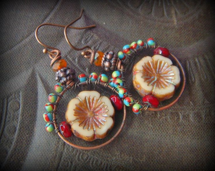 Flowers, Czech Glass, Copper, Colorful, South West, Country, Organic, Rustic, Hoop, Beaded Earrings by YuccaBloom on Etsy