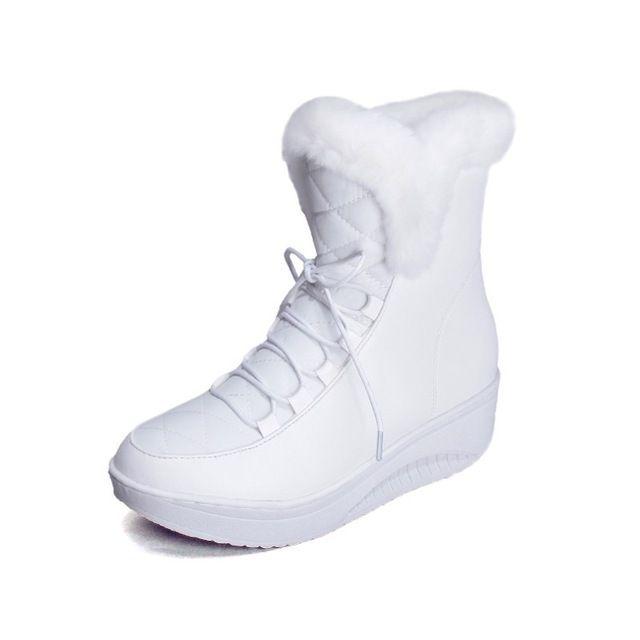 Más el tamaño 35 44 Nuevo 2017 de la Nieve Botas de plataforma de las mujeres zapatos de invierno impermeable botines de encaje hasta las botas de piel blanco negro negro blanco en Botas de nieve de Zapatos en AliExpress.com | Alibaba Group