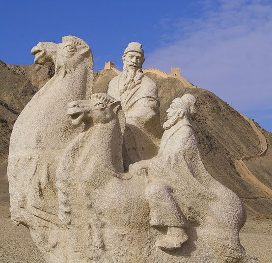 The Hobbit was set in Middle Earth, but if it had been set in the Middle Kingdom, this sculpture might well represent Gandalf and Bilbo Baggins setting off on an adventure on the Silk Road. The sculpture is at the foot of the north flanking wall of the western end of the Great Wall at Jiayuguan in Gansu Province of China.