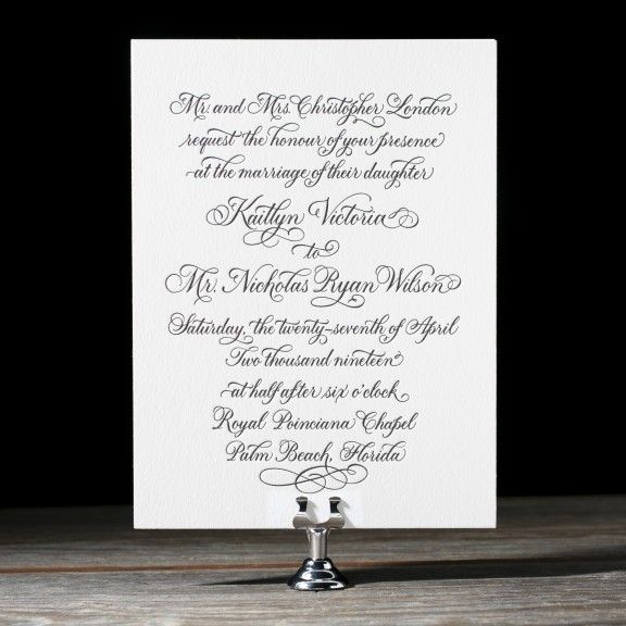 Sarah Hanna pens regal romance with Victoria Calligraphy, letterpress wedding invitations with dazzling swirls of calligraphy elegance. These wedding invitations are the perfect accompaniment to a traditional wedding with romantic, sophisticated wedding style and luxury letterpress details.