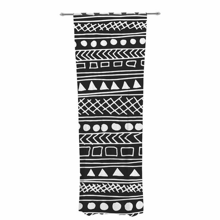 "Fimbis ""Redefined BW"" Black White Decorative Sheer Curtain"