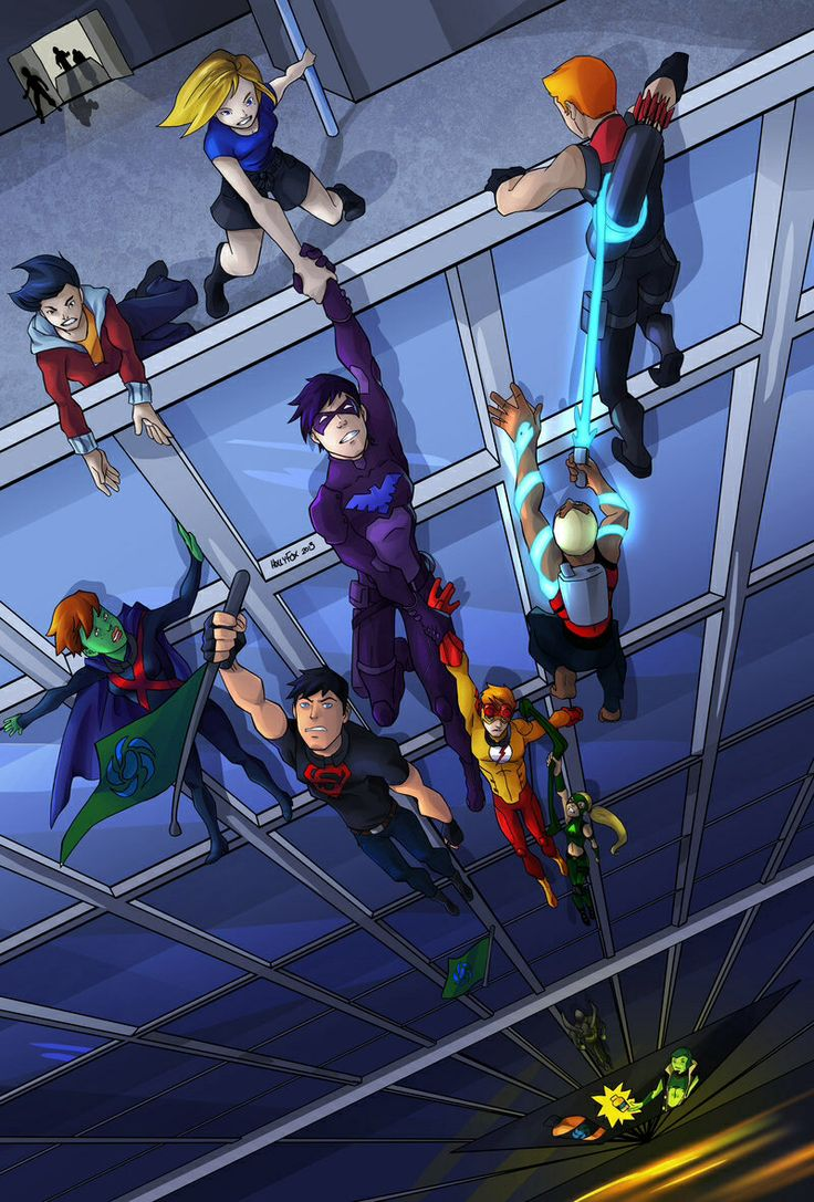 Young Justice team hanging around