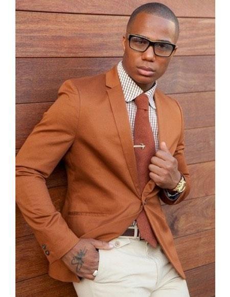 a69f85c77a89 Cognac ~ Rust ~ Copper Color Burnt orange Mens 2 Buttons Blazer ~ Sport  Coat Jacket in 2019