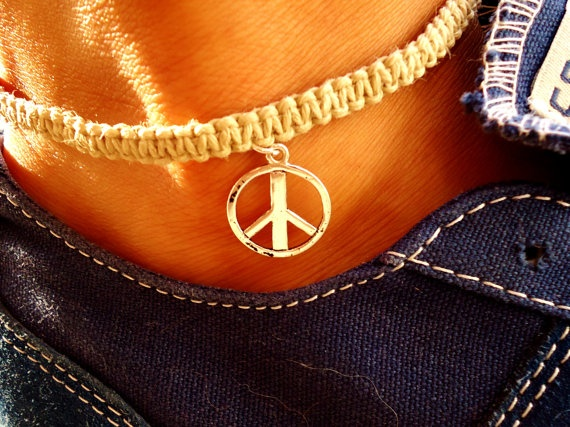 Tan Peace Hemp Ankle Bracelet by PEACEdTogether1 on Etsy, $10.00