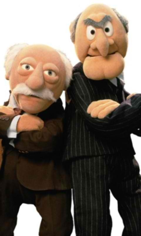 Statler and Waldorf. Aka the two old guys from the Muppets