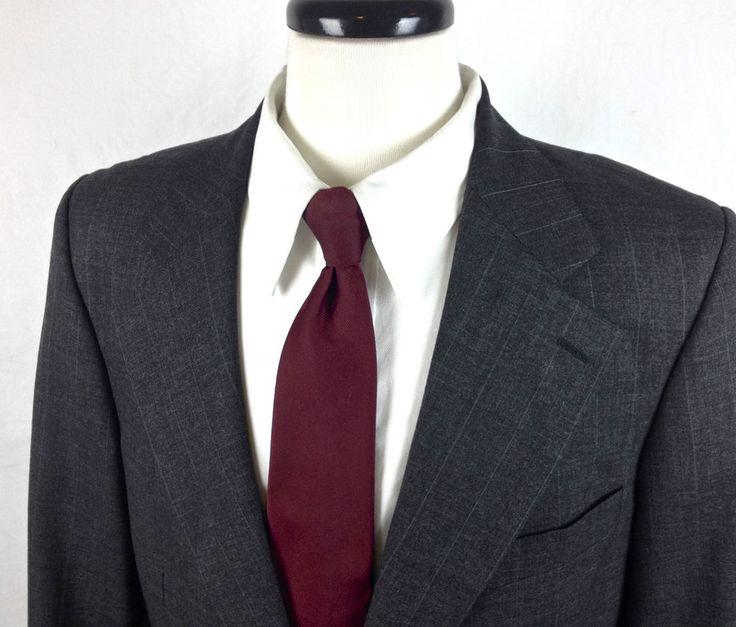 Ralph Lauren Gray Wool Blazer Mens 40 R Polo University Club Jacket Recent #RalphLauren #TwoButton