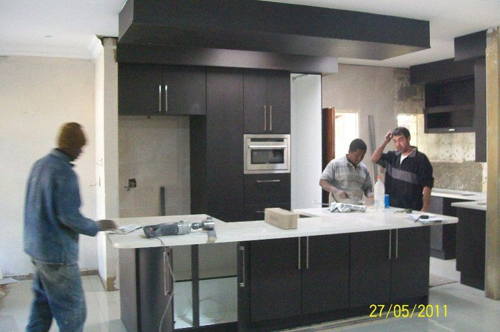 Open plan kitchen install