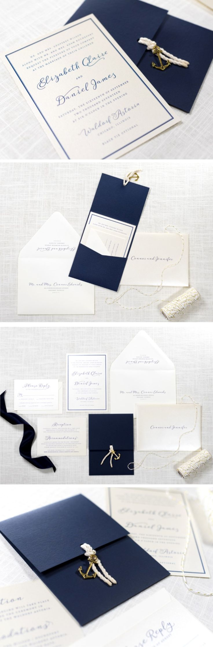 Nautical Anchor Charm and Rope Wedding Invitation in Navy, Ivory, and Opal Champagne Shimmer - The Nautica Suite