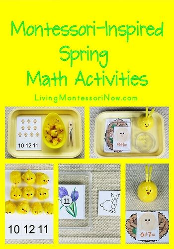 Long list of free spring printables along with ideas for using free printables to create Montessori-inspired spring math activities