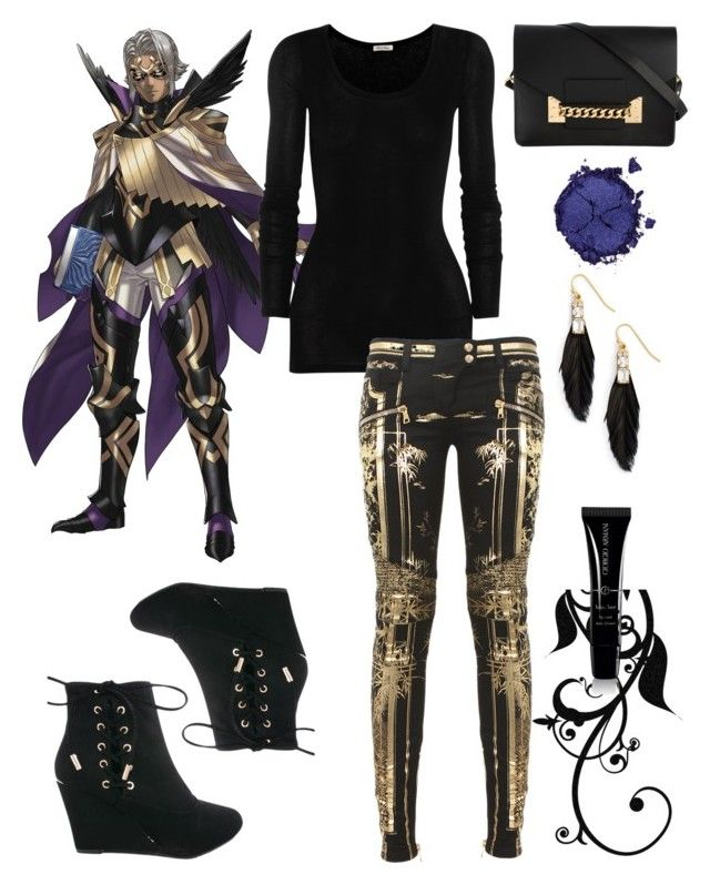"""Fire Emblem Heroes: (Femme) Bruno"" by punksodababe ❤ liked on Polyvore featuring Sandy Hyun, American Vintage, Balmain, Sophie Hulme, Pat McGrath and Giorgio Armani"
