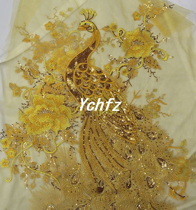 Approx $17 per metre. Golden Phoenix Peacock the yarn embroidery cutwork sequined lace cheongsam clothing DIY manual cloth fabric - Taobao