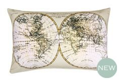 Antique Map Print Cotton Cushion  Designed with an antique-style world map on a linen tone background, this printed cushion adds a touch of sophistication to smart interiors.( C )