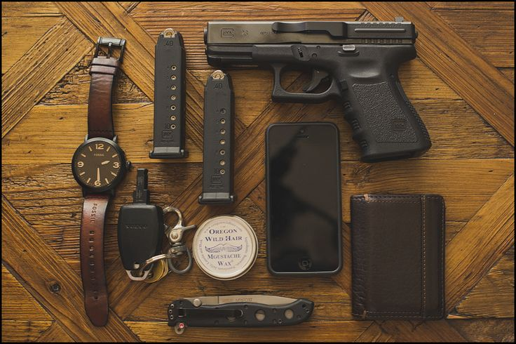 My Every Day Carry :: Fossil Watch, Glock 23 with second mag, Eddie Bauer wallet, CRKT locking folder, keys, Oregon Wild Hair mustache wax, iPhone 5 in slim case by Poetic