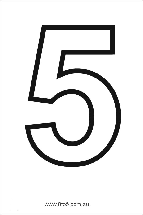 Number - five printable template