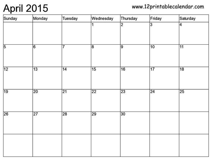 april 2015 calendar  printable holidays template