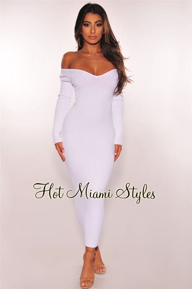 ddd9f10aa89 White Ribbed Knit Long Sleeves Dress in 2019