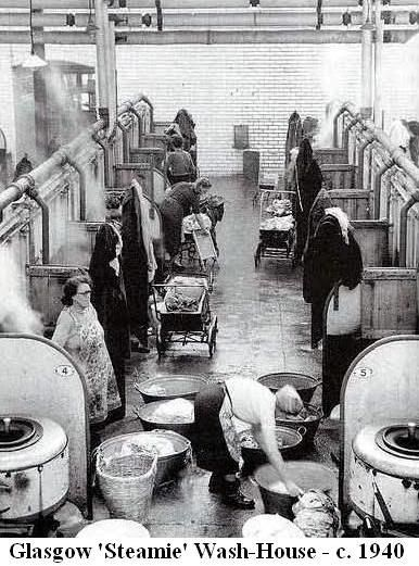 """Glasgow Washouse. It was called """"The Steamie"""". My mother used to help her Mum do laundry like this, I wonder if it's the same place?"""