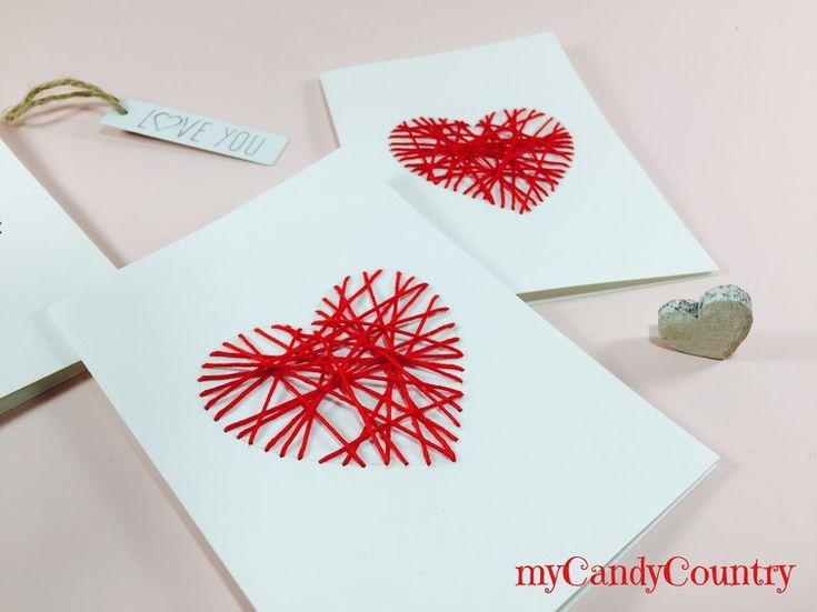 Biglietti di San Valentino fai da te si realizzano con ago e filo. Un biglietto di San Valentino fai da te romantico e creativo.