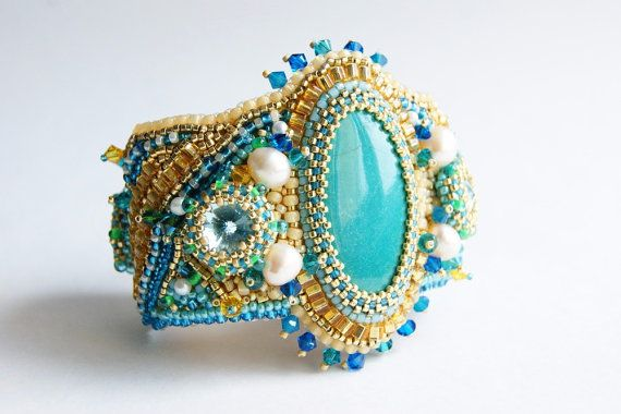 Embroidered bracelet with chrysocolla pearls by InviolaJewerly