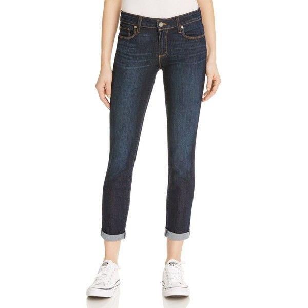 Paige Denim Kylie Crop Roll Jeans in Duncan ($105) ❤ liked on Polyvore featuring jeans, duncan, paige denim, cuff jeans, dark wash jeans, rolled jeans and cropped jeans