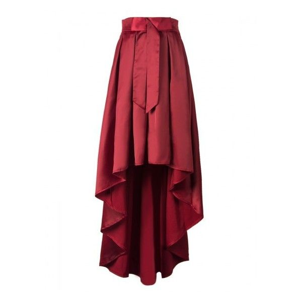 Choies Burgundy Bowknot Waist Hi-lo Skater Skirt ($29) ❤ liked on Polyvore featuring skirts, burgundy circle skirt, high low skater skirt, short front long back skirt, burgundy skirt and red flared skirt