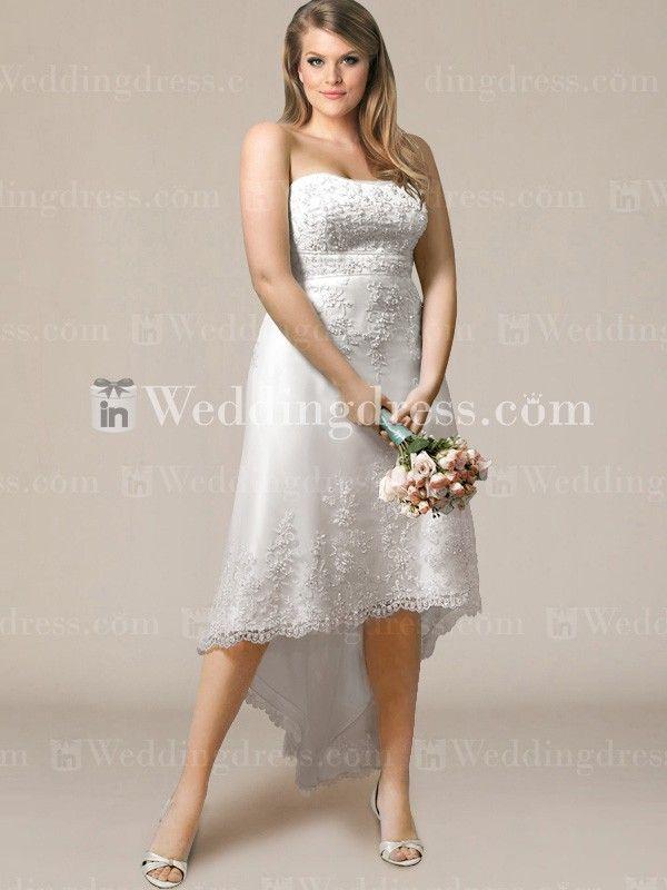 Fabulous Lace High Low Plus Size Wedding Dress PS