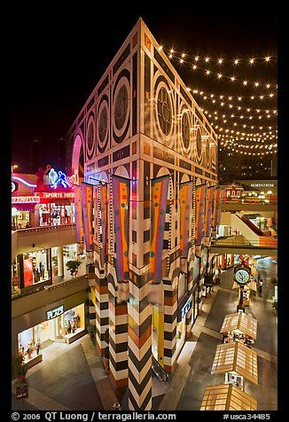 Palazzo in Horton Plaza at night. San Diego, California, USA