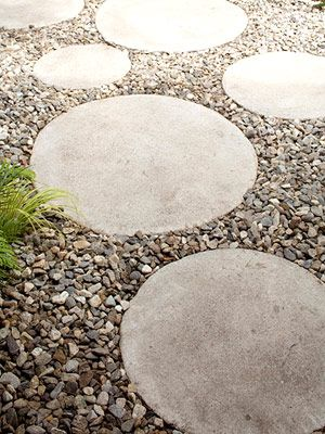 concrete and gravel walkway... two textures look better than one