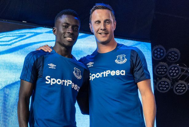 Idrissa Gueye and Phil Jagielka launch the Everton kit for the 2017/18 season.
