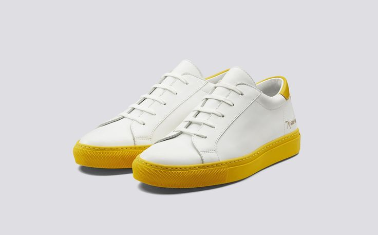 Tennessee Blues | Tim Little x Grenson | Womens Sneaker in White Calf Leather with a Yellow Calf Leather Counter on a Yellow Rubber Sole | Grenson Shoes - Three Quarter View