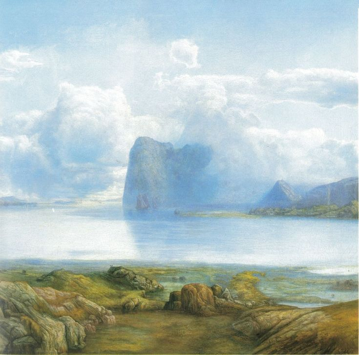 "Lars Hertervig ""Fra Borgøya"" (1867 - Oil on canvas)"