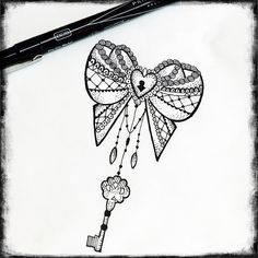 lace bow & key tattoo - Google Search