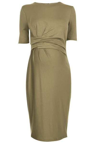 As if Topshop wasn't awesome enough, they make killer maternity clothes and their drape bodycon dress is a prime example; us.topshop.com.