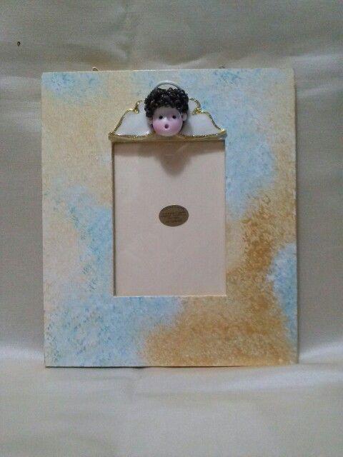 Cornice portafoto dipinta a mano realizzata con decoro in porcellana fredda