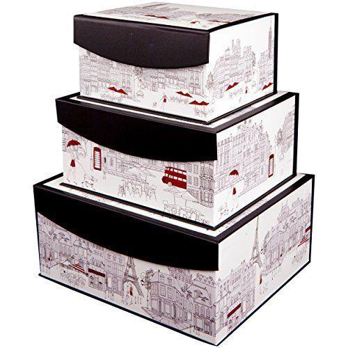 Storage Bins Flip Top Printed Box World (Set Of 3) Enchante Accessories  Http: