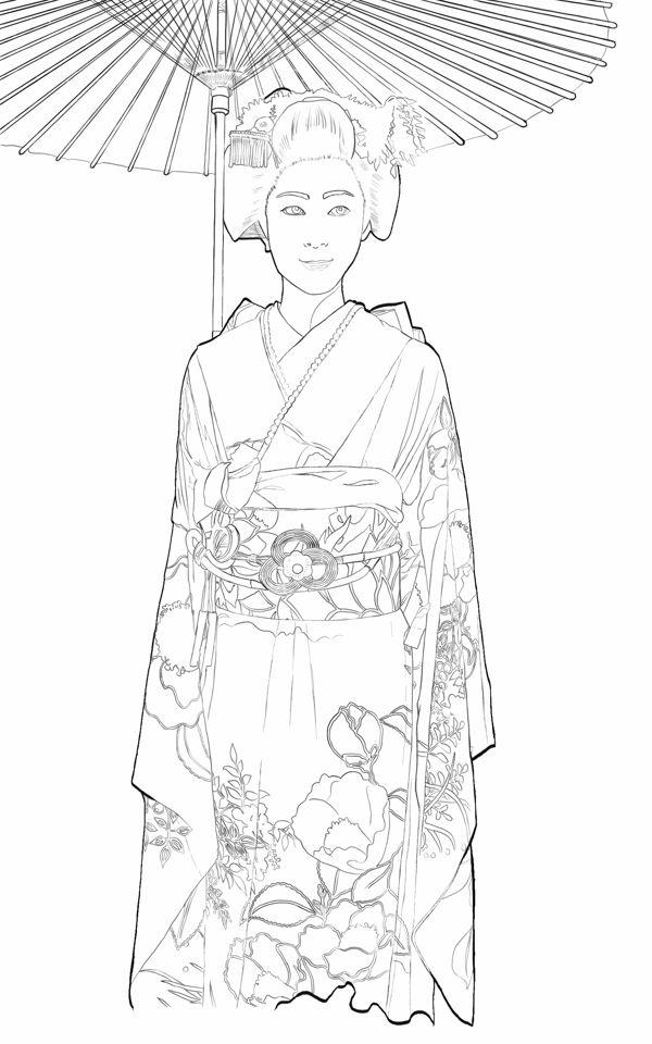 Japanese Geisha Illustration by Andy Heather, via Behance