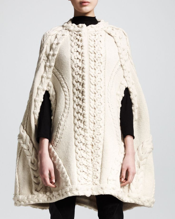 Contemporary Knitwear -  chic knitted cape with chunky textures // Alexander McQueen