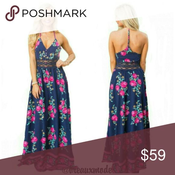 """[Plus: 1X] ✴ Sweet Pink Light-weight Maxi Dress Light-weight, floral long maxi dress. Lace see-through waistline. V-neckline and sleeveless. T back design. Zips on the side.  Length is 54.5"""" from arm pit to bottom of dress.  Sizes 1X = 14/16 Breaux Mode Dresses Maxi"""