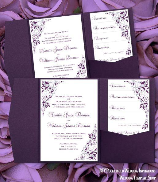 Pocket Fold Wedding Invitations Gianna Eggplant Purple Silver 5x7