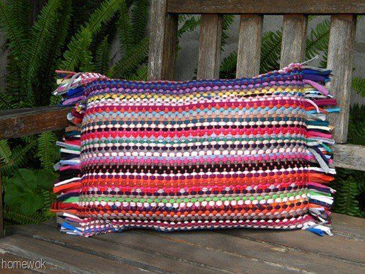 Great outdoor pillows Buy a cheap rag rug at the dollar store or somewhere & sew it into a pillow cover carolynshomework.blogspot.com