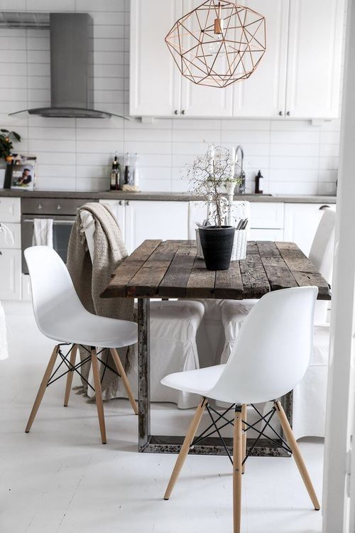 White rustic & modern dining/ kitchen