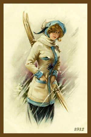 Woman Holding Skis 1910.